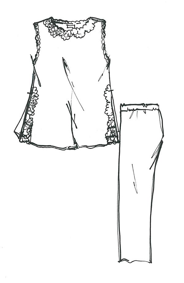 Pigiama senza maniche e pantalone lungo Leda